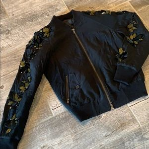 J.CREW COLLECTION SEQUIN-SLEEVE BOMBER JACKET